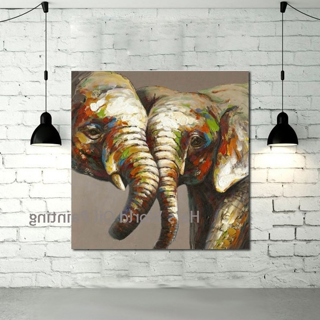 Abstract Elephant Wall Art For Popular Hand Painted Canvas Art Abstract Elephant Oil Paintings Modern (View 5 of 15)