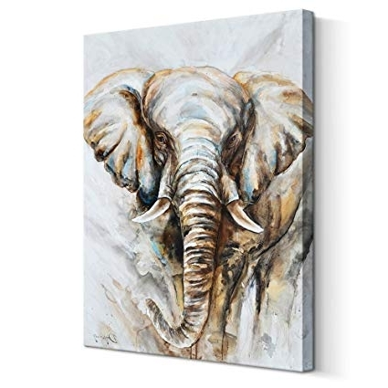 Abstract Elephant Wall Art Throughout 2018 Amazon: Abstract Elephant Wall Art Animal Oil Painting On Canvas (View 7 of 15)