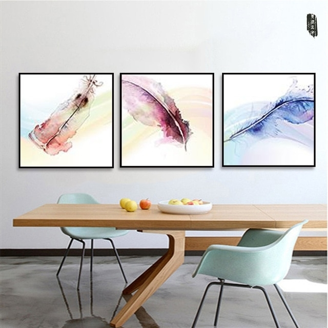 Abstract Feather Canvas Painting Modern Wall Art Posters And Prints Within 2018 Modular Wall Art (Gallery 10 of 15)