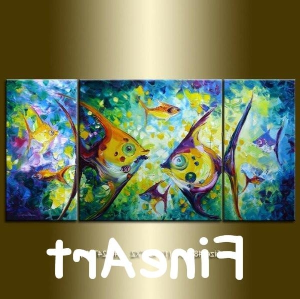 Abstract Fish Wall Art Inside Famous 2018 Hand Painted 3 Canvas Art Modern Abstract Koi Fish Canvas Art (View 3 of 15)