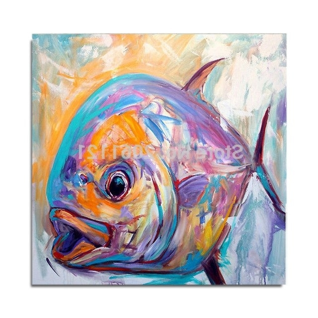 Abstract Fish Wall Art Pertaining To Most Up To Date Hand Painted Pop Oil Painting On Canvas Abstract Fish Oil Painting (View 4 of 15)