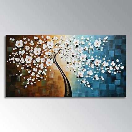 Abstract Floral Canvas Wall Art With Newest Amazon: Winpeak Art Handmade Plum Tree Blossom Modern Canvas (View 6 of 15)