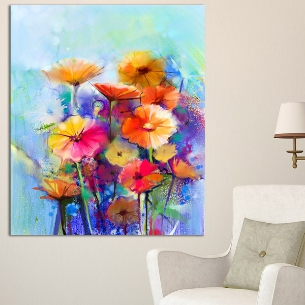 Abstract Floral Wall Art Throughout Current Designart 'abstract Floral Watercolor Painting' Modern Floral Wall (View 3 of 15)