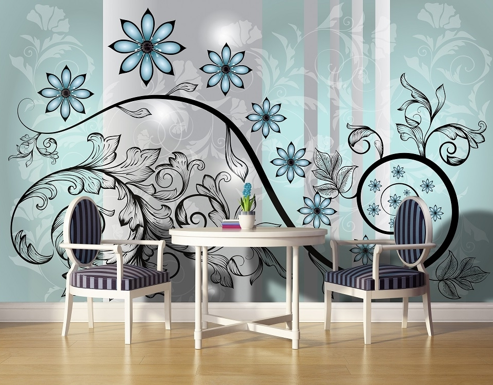 Abstract Flower Art Wall Murals For Wall (View 8 of 15)