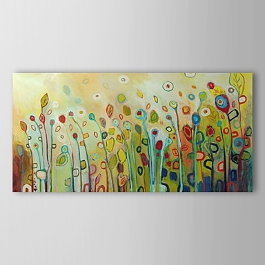 Abstract Flower Floral Oil Painting Wall Art With Stretched And Throughout Most Popular Abstract Floral Canvas Wall Art (View 8 of 15)
