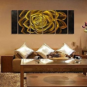Abstract Flower Metal Wall Art For Current Amazon: Winpeak Art Original Handcraft Gold Abstract Flower (View 2 of 15)