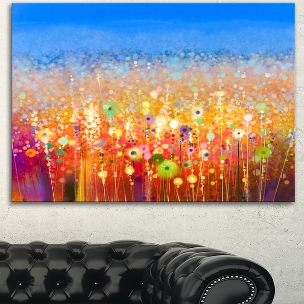 Abstract Flower Wall Art In Most Recently Released Designart 'abstract Flower Field Watercolor Painting' Modern Floral (View 3 of 15)