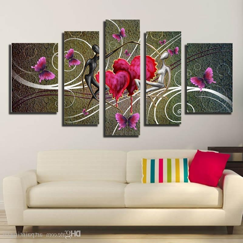 Abstract Flower Wall Art Inside 2018 2018 New Fashion Abstract Flower Ink Painting On Canvas Modern (View 9 of 15)