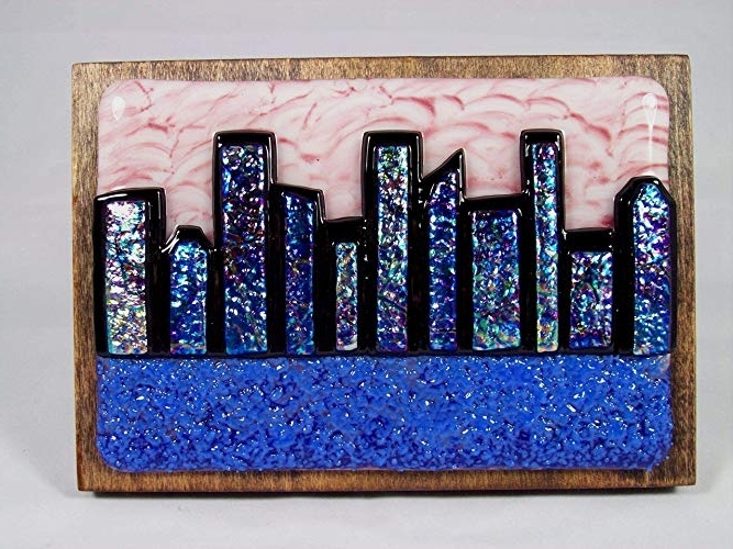 """Abstract Fused Glass Wall Art Within 2018 Amazon: """"abstract City Skyline 2"""" Handmade Fused Glass Wall Art (View 3 of 15)"""