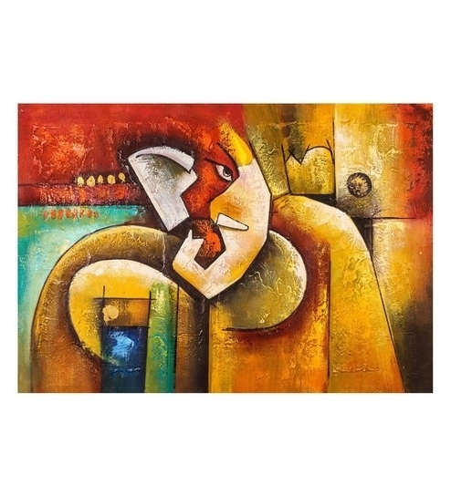 Abstract Ganesha Wall Art Pertaining To 2017 Buy Canvas 36 X 24 Inch Like Abstract Ganesha Unframed Handpainted (View 3 of 15)