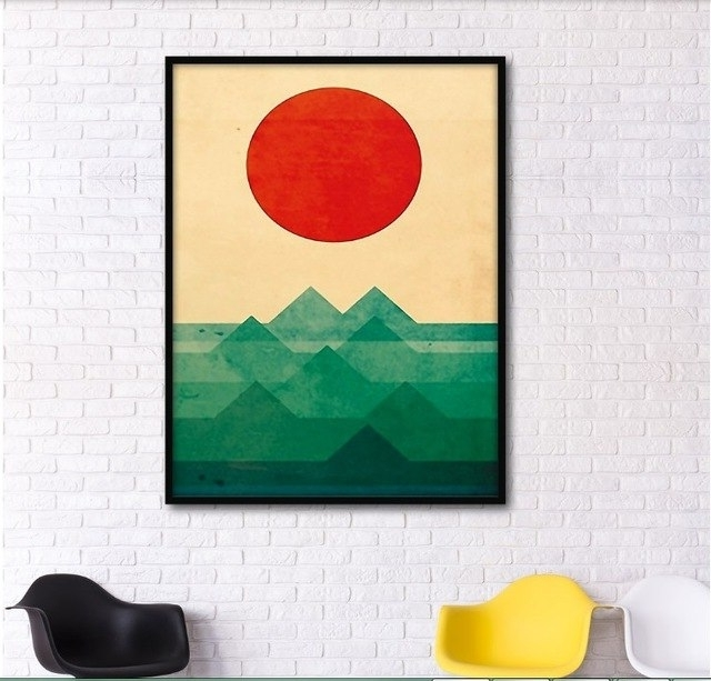 Abstract Graphic Wall Art Throughout Newest Abstract Graphic Combination Mountains Decorative Paintings Modular (View 3 of 15)