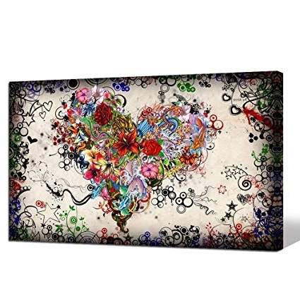 Abstract Heart Wall Art In Most Up To Date Amazon: Sea Charm – Contemporary Vintage Abstract Art For Living (View 7 of 15)