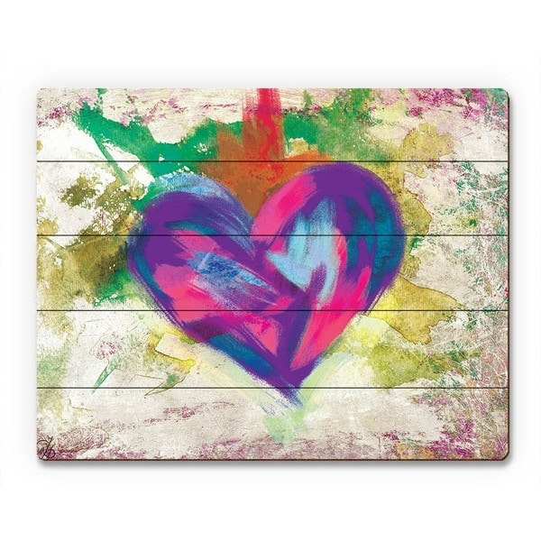 Abstract Heart Wall Art Intended For Popular Shop Up Beat Violet Abstract Heart Wall Art On Wood – On Sale (View 4 of 15)