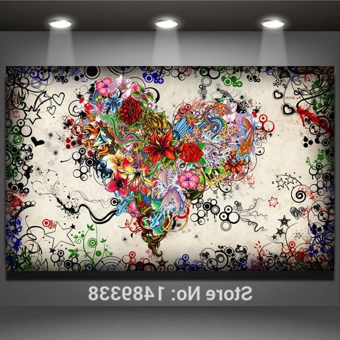 Abstract Heart Wall Art With Most Popular Abstract Modern Wall Art Heart Flowers Painting On Canvas Prints (View 3 of 15)