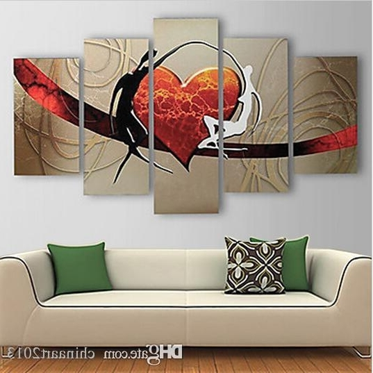Abstract Heart Wall Art Within Preferred 2018 Pure Hand Painted Abstract Heart Oil Painting On Canvas Modern (View 11 of 15)