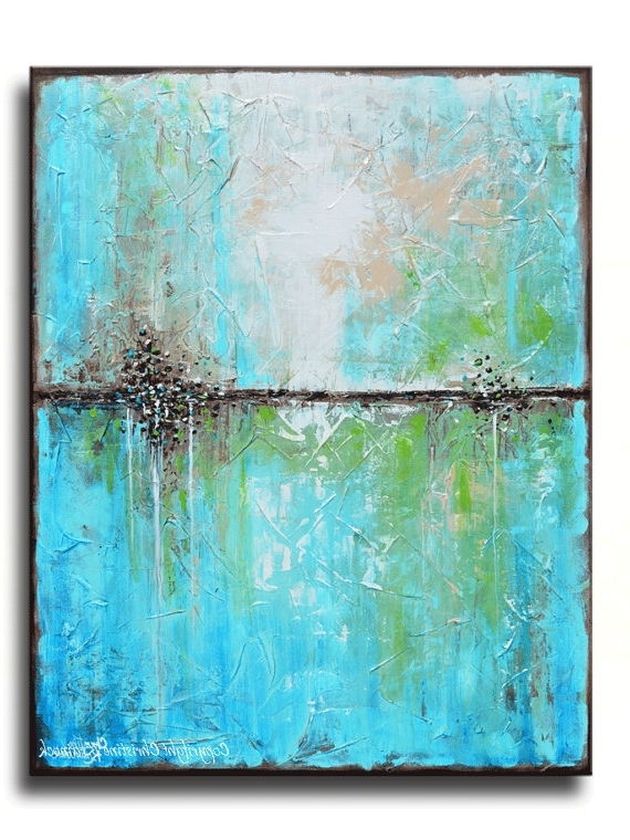 Abstract Horizon Wall Art Within 2017 Art Prints Large Art Blue Abstract Painting Canvas Giclee Print (View 4 of 15)