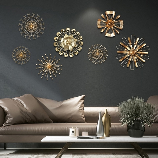 Abstract Iron Wall Art for Most Recent Modern Blossom Abstract Metal Wall Art Home Decor Iron Gold Wall