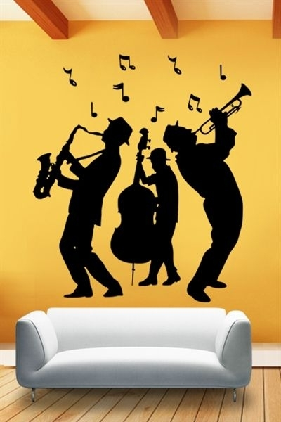 Abstract Jazz Band Wall Art Inside Most Recently Released Wall Decals Jazz Band Notes, Abstract, Men, Bass, Sax, Trio (View 13 of 15)