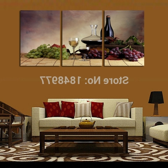 Abstract Kitchen Wall Art Inside 2017 3 Piece Cuadros Decoracion Modern Wall Oil Painting Abstract Wine (View 13 of 15)