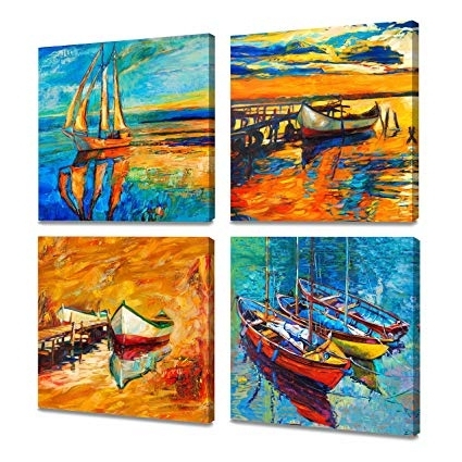 Abstract Landscape Wall Art Pertaining To Trendy Amazon: Artkisser Original Modern Abstract Landscape Sailing (View 13 of 15)