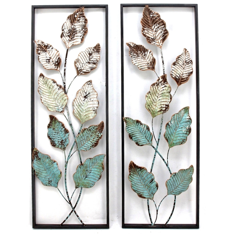 Abstract Leaf Metal Wall Art Pertaining To Favorite Aqua Leaves Abstract Metal Wall Art 90Cm Set/2 – Mascali Collection (View 3 of 15)