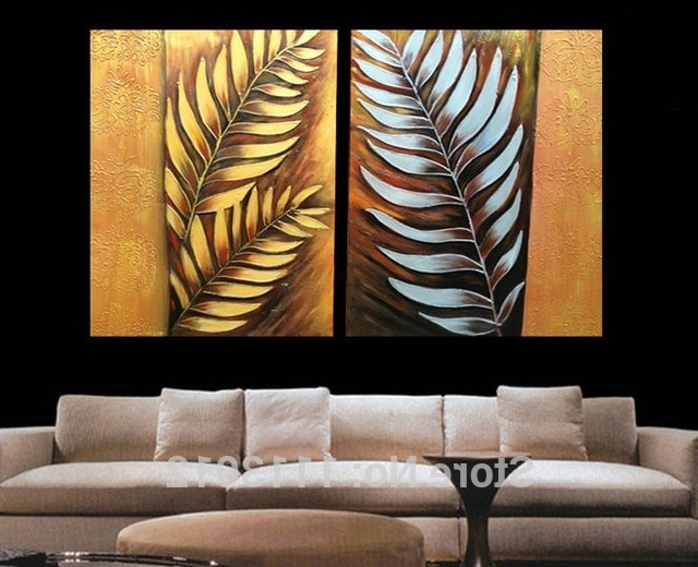 Abstract Leaf Metal Wall Art Regarding Popular Free Shipping Handpainted 2 Pieces Canvas Art Abstract Metal Wall (View 7 of 15)