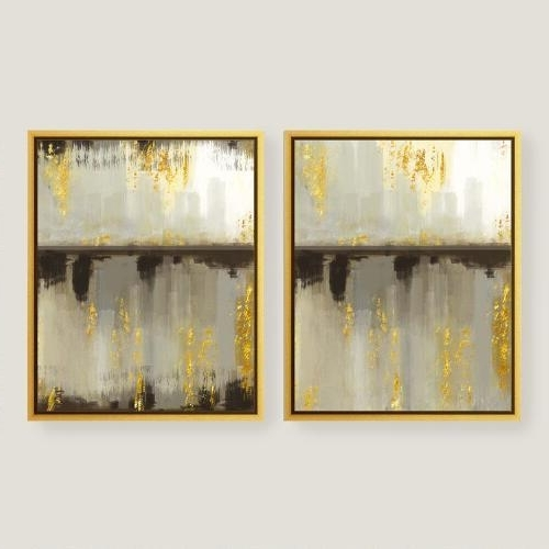 Abstract Leaves Wall Art Inside Most Up To Date Neutral Horizon Gold Canvas Wall Art (View 12 of 15)