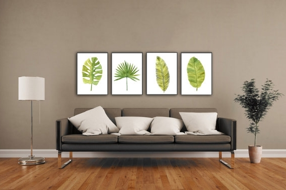 Abstract Leaves Wall Art With Regard To Favorite Palm Leaf Watercolor Painting Abstract Leaves Minimalist Fine Art (Gallery 6 of 15)