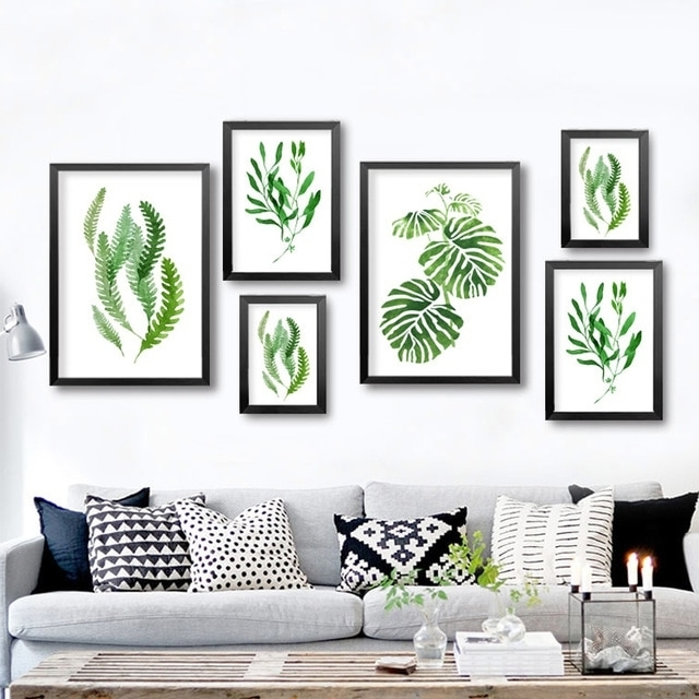 Abstract Leaves Wall Art Within Newest Abstract Green Plants Canvas Paintings Natural Leaf Wall Art (View 13 of 15)