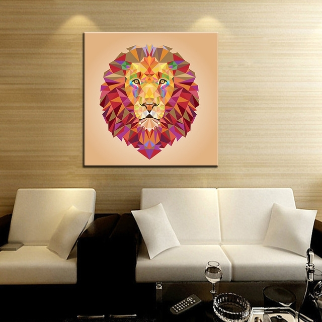 Abstract Lion Wall Art Intended For Most Up To Date Lion Canvas Art Abstract Animal Paintings Wall Pictures For Living (View 14 of 15)