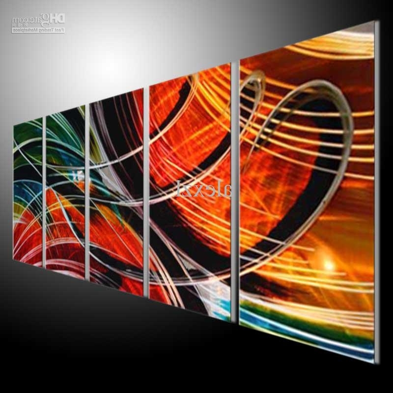 Abstract Metal Wall Art Painting Within Well Liked Metal Wall Art Abstract Modern Sculpture Painting Handmade 5 Panels (View 14 of 15)