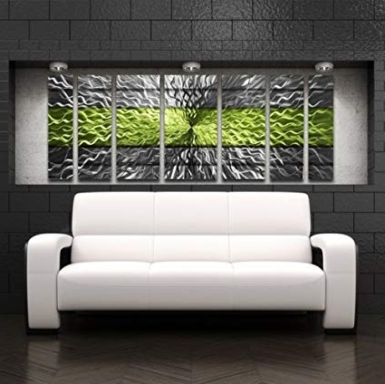 Abstract Metal Wall Art Panels Within Well Known Amazon: Green Metal Wall Art Panels Modern Contemporary Abstract (View 6 of 15)