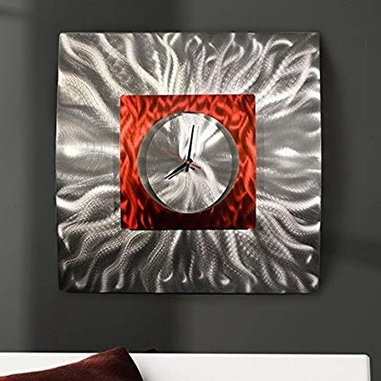 Abstract Metal Wall Art With Clock For 2017 Amazon: Eye Catching Etched Silver & Red Jewel Tone 3D (View 8 of 15)