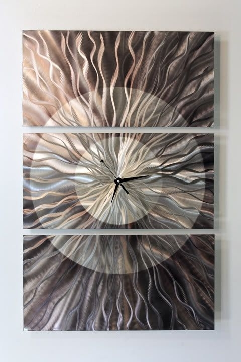 Abstract Metal Wall Art With Clock Throughout Recent Charcoal Grey & Silver Abstract Metal Wall Clock, Modern Metal Wall (View 7 of 15)