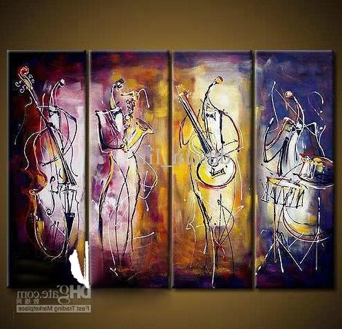 Abstract Music Wall Art In Newest 2018 Hand Painted Oil Wall Art The Music Figure Abstract Oil (Gallery 15 of 15)