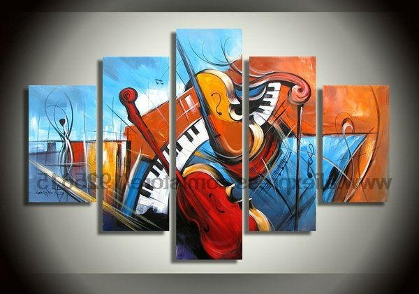 Abstract Music Wall Art Intended For Popular Abstract Music Wall Art Kitchen Decor Living Room 5Pcs Abstract (Gallery 5 of 15)