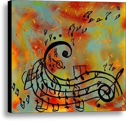 Abstract Musical Notes Piano Jazz Wall Artwork With Trendy Music Notes Painting, Abstract Music Art Print, Musical Notes Wall (View 2 of 15)