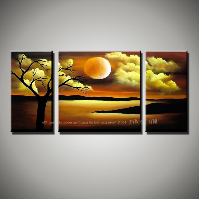 Abstract Nature Canvas Wall Art Within Most Popular 3 Piece Canvas Wall Art Abstract Nature Painting Landscape Hand (View 3 of 15)