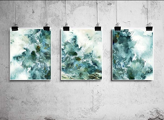 Abstract Nautical Wall Art Regarding Most Recently Released Amazon: Abstract Nautical Art Prints Set, Waves Watercolor (View 2 of 15)