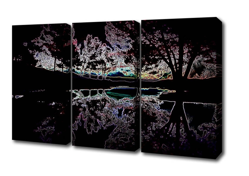 Abstract Neon Landscape 13 Lake 3 Panel Canvas 3 Panel Set Canvas With Current Abstract Neon Wall Art (View 1 of 15)