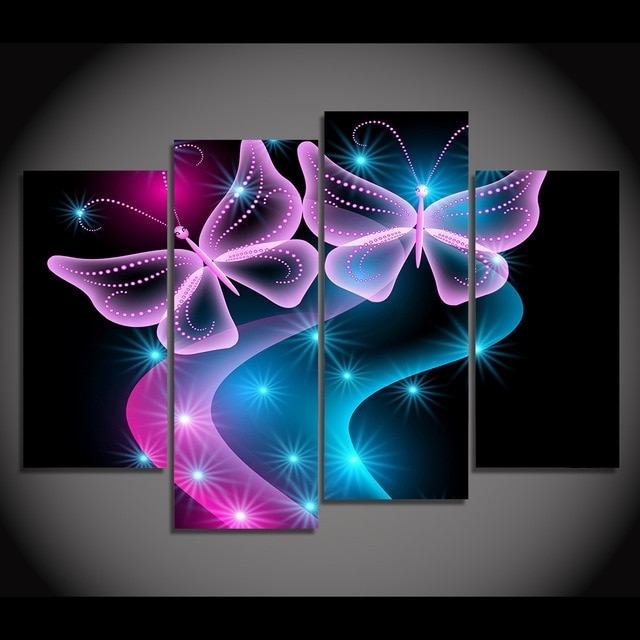 Abstract Neon Wall Art In Widely Used Print Canvas Painting Butterflies Neon Light Abstract Wall Art (View 2 of 15)
