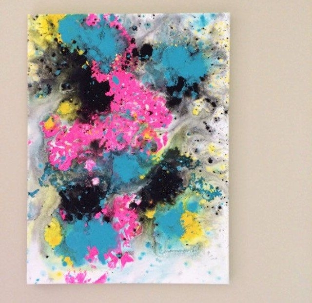 Abstract Neon Wall Art Inside Most Recent Abstract Flow Art Blue Pink Black Art Fluid Painting Neon Pop (View 3 of 15)