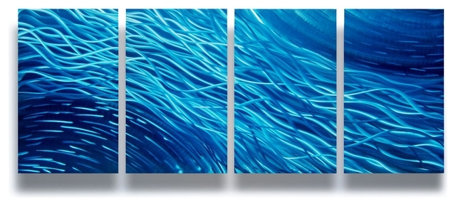 "Abstract Ocean Wall Art Intended For Popular Ocean"" 4 Panel Metal Wall Art Decor, 63""x24"" – Modern – Wall Decor (Gallery 4 of 15)"