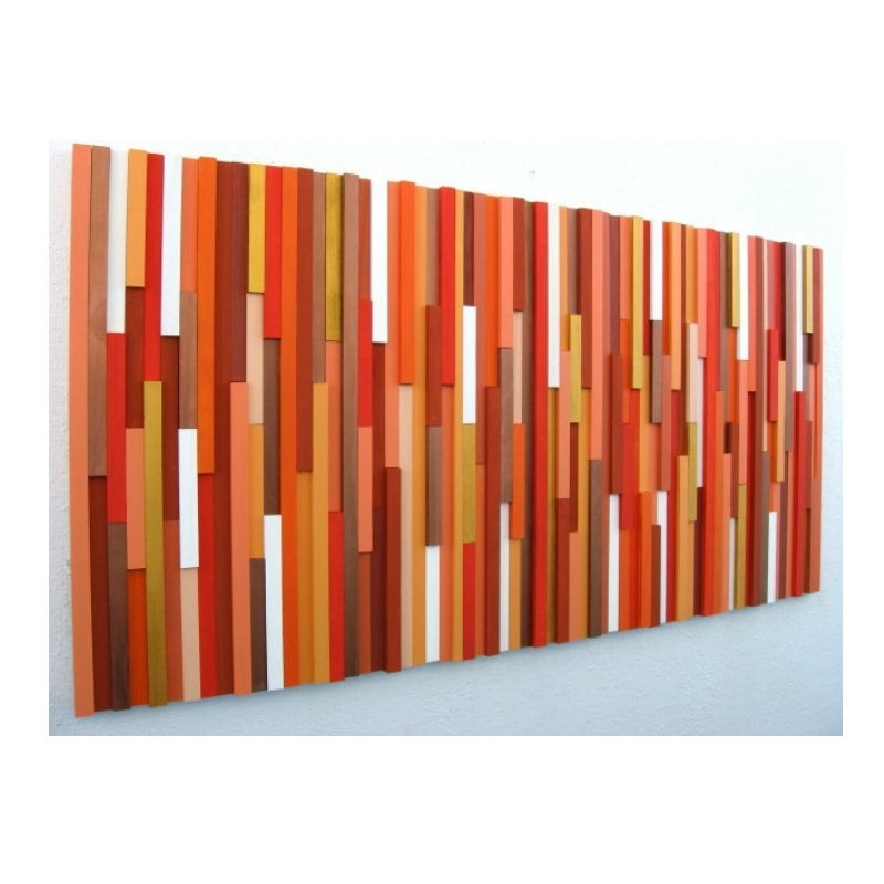 Abstract Orange Wall Art Intended For Well Known Buy A Hand Made Orange Wall Art, Abstract Art Orange, Wood Abstract (View 2 of 15)