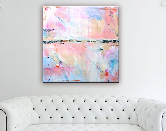 Abstract Painting Print Large, Abstract Art Canvas Print, Coral With Regard To Most Up To Date Pastel Abstract Wall Art (View 4 of 15)