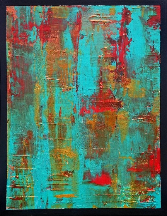 Abstract Painting, Vivid Rust, Acrylic Abstract Art, Abstract Wall Intended For Recent Lime Green Abstract Wall Art (Gallery 11 of 15)