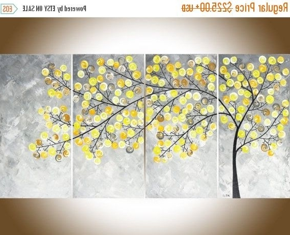 Abstract Painting Yellow Grey Painting Large Wall Art Modern Art Pertaining To Most Recently Released Yellow Grey Wall Art (Gallery 1 of 15)