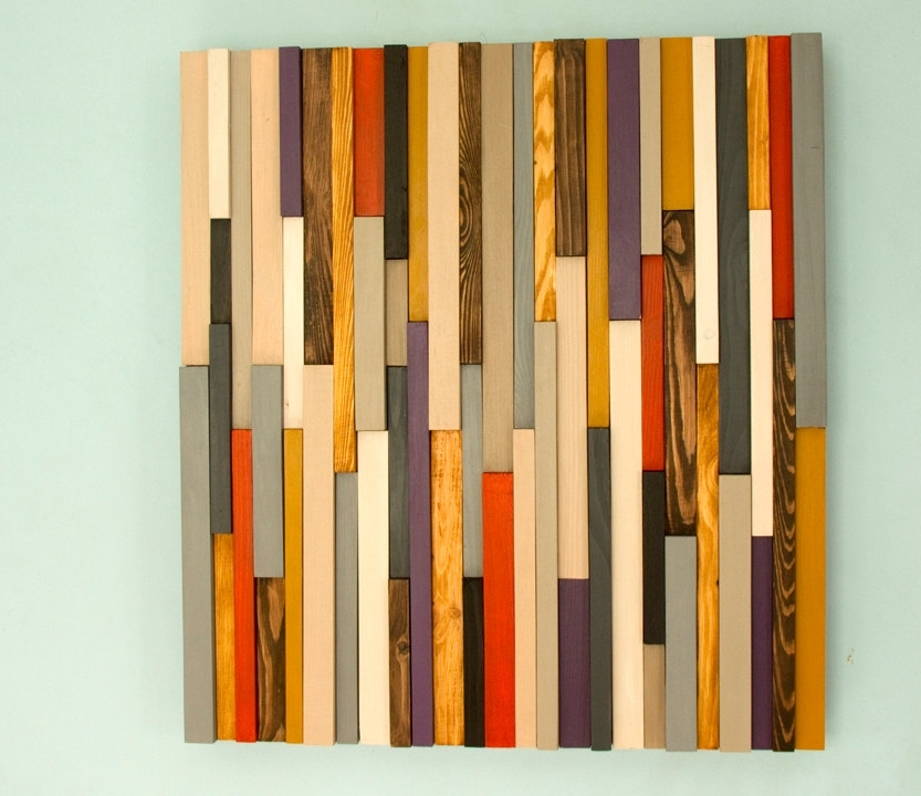 Abstract Wall Art 3D For Most Popular Wood Wall Art Sculpture 3D Abstract Wood Sculpture, Reclaimed Wall (View 2 of 15)