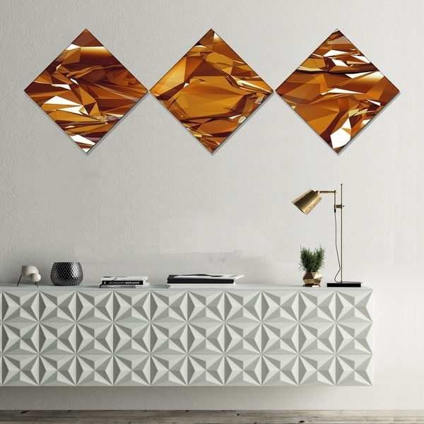 Abstract Wall Art 3D Pertaining To Best And Newest Shop Designart '3D Gold Crystal Background' Abstract Canvas Wall Art (View 7 of 15)