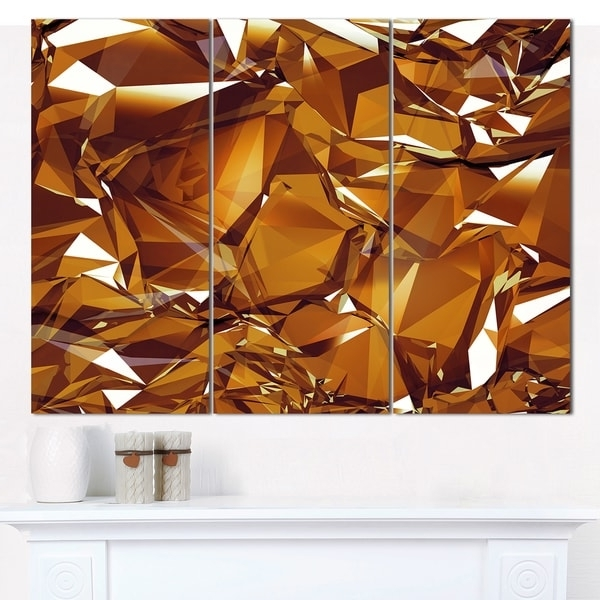 Abstract Wall Art 3D Throughout Famous Shop Designart '3D Gold Crystal Background' Abstract Canvas Wall Art (View 3 of 15)